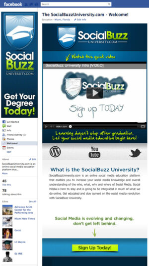 SocialBuzz University Facebook Fan Page